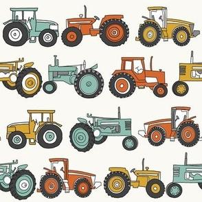 MEDIUM tractor fabric, tractors, vintage tractors  - neutral fabric, farm fabric, kids fabric - teal