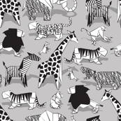 Small scale // Origami animalier // grey background black and white animals