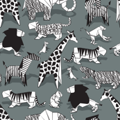 Small scale // Origami animalier // green grey background black and white animals