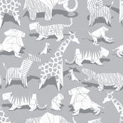 Small scale // Origami animalier // grey background white animals