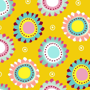flower circle dots ditsy yellow