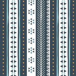 Geometric Rows Blue