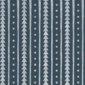 Stamped Rows Dark Blue