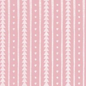 Stamped Rows on Pastel Pink