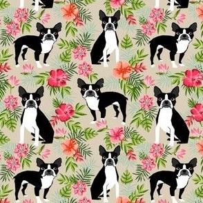 SMALL - Boston Terrier hawaiian fabric - hawaiian floral fabric, dog fabric, tropical dog fabric,