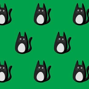 Spooky Cats on Kelly Green