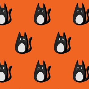 Spooky Cats on Orange
