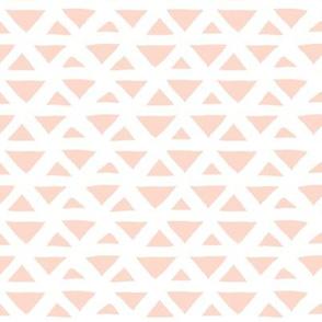 New boho indian summer minimal abstract geometric triangles aztec mudcloth design soft peach blush girls