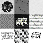 MomLife//Wine//Greys - Wholecloth Cheater Quilt
