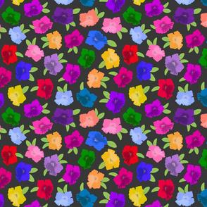 Pretty Petunias - festive spring colour! - charcoal grey, medium