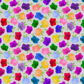 Pretty Petunias - festive spring colour! - silver grey, medium