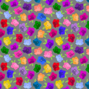 Pretty Petunias - festive spring colours! - grey, medium