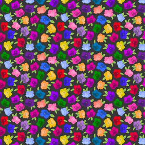 Pretty Petunias - festive spring colours! - charcoal grey, small