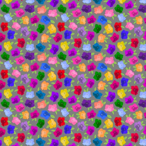 Pretty Petunias - festive spring colours! - grey, small