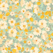 Illustrated Vintage Wildflowers-minty