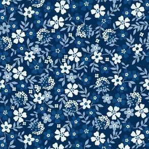 Midnight Flowers- Navy Blue