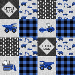 """(3"""" small scale) Little Man - Construction Nursery Wholecloth - blue plaid  - C20BS"""