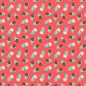 (micro scale) burrito toss on red - tex-mex food C20BS