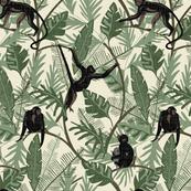 Monkeys - No Flowers - Cream - Medium - Linen Texture