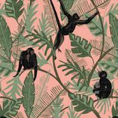 Monkeys - No Flowers - Pink - Large - Linen Texture