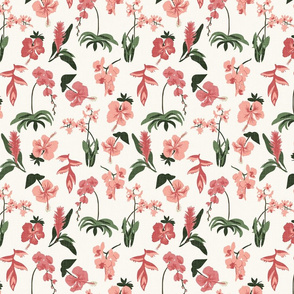 Tropical Flowers - Pink, H White - Small - Linen Texture