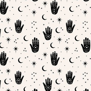 Mystic magic Universe prayer hamsa moon phase and stars sweet dreams night off white black SMALL