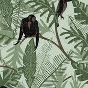 Monkeys - No Flowers - Aqua - Extra Large - Linen Texture