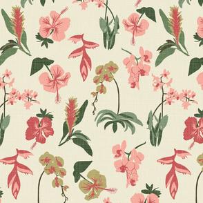 Tropical Flowers - Pink, Green, Cream - Linen Texture