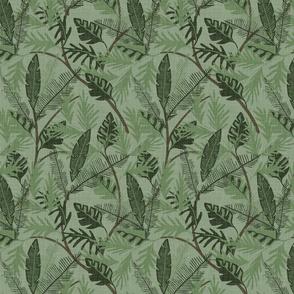 Tropical Foliage - Dark Green - Small - Linen Texture