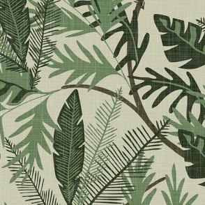 Tropical Foliage - Light Green - Extra Large - Linen Texture