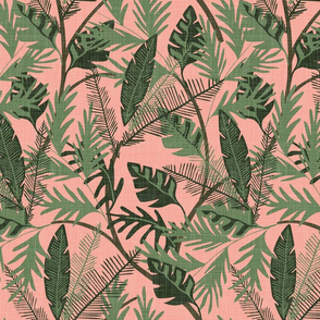 Tropical Foliage - Pink - Medium - Linen Texture