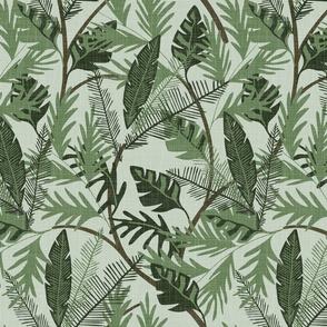 Tropical Foliage - Aqua - Medium - Linen Texture