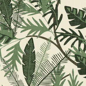 Tropical Foliage - Cream - Large - Linen Texture