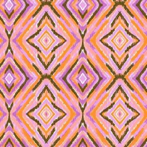summer Ikat diamond in pink, orange and purple