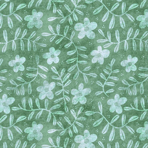 Textured Floral - Green