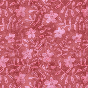 Textured Floral - Red