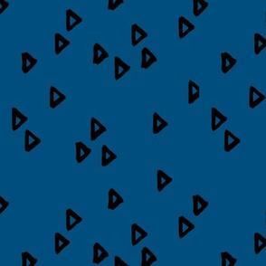 Little inky arrows abstract Scandinavian trend minimal triangles basic nursery pattern black black navy blue winter