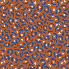 Abstract panther confetti minimal ink spots and strokes leopard trend design rust blue gray