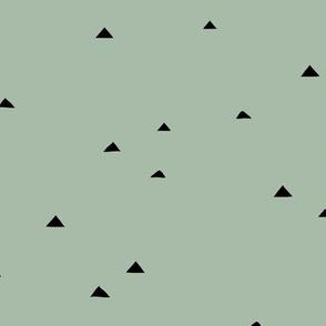 Little inky triangle confetti arrows abstract Scandinavian trend minimal basic nursery pattern sage eucalyptus green