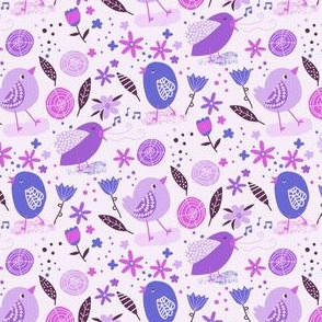 Bitty Birds in Purple