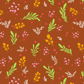 Flowers on Rust Background
