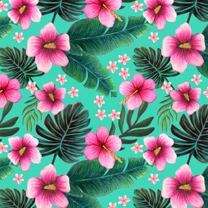 Maximalist floral ,  hibiscus plumeria on biscay green