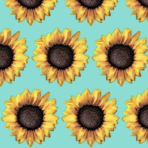 Sunflower Army Spaced / Aqua Blue Floral