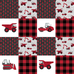 Construction Nursery Wholecloth - construction trucks - red  plaid   - LAD19
