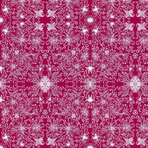 White Red Claret Burgundy Flowers Lace