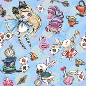 Alice, white rabbit, Cheshire Cat etc
