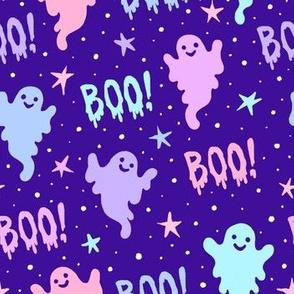 Boo! Cool Ghosts on Purple