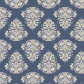 symetric damask | cream blue