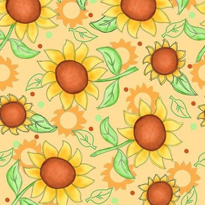 Sunflower Yellow Scattered Toss Medium