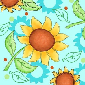 Sunflower Turquoise Scattered Toss